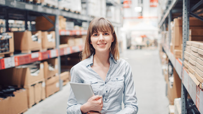 young woman worker in warehouse