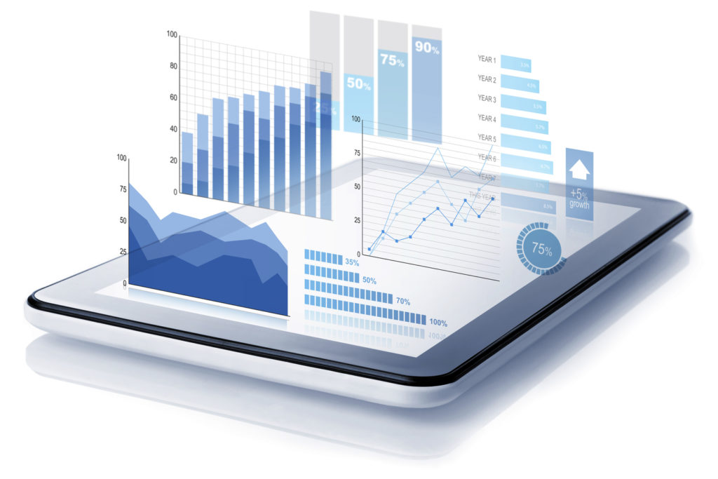 Tablet with graphs illustration retail analytics.